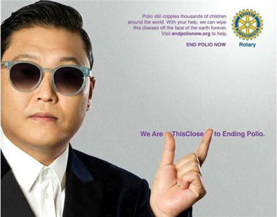 rotary end polio now campaign psy